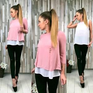 Блуза Двойка розовая Т5335