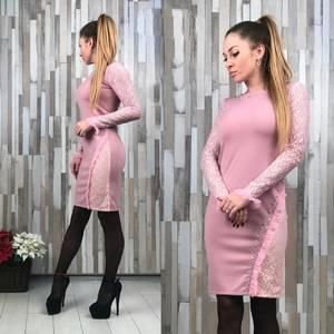 Платье короткое с длинным рукавом облегающее Т2166