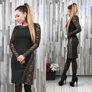 Платье короткое с длинным рукавом облегающее Т2168
