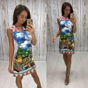 Платье короткое без рукавов с принтом Т4311