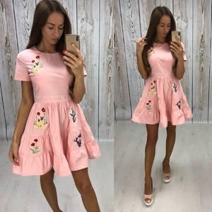 Платье короткое коктейльное с принтом Т7833