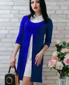 Платье Двойка короткое синее современное Т7808