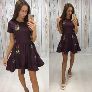 Платье короткое коктейльное с принтом Т7834