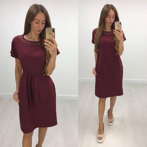 Платье короткое нарядное однотонное Т7845