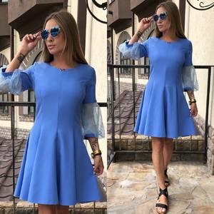 Платье короткое коктейльное однотонное Т8007