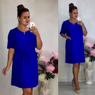 Платье короткое повседневное синее Т7960