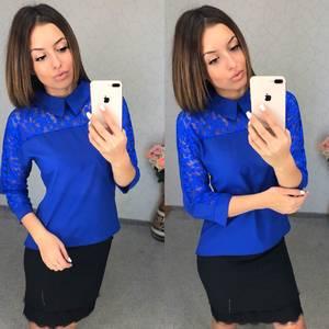 Блуза синяя с кружевом Т8029