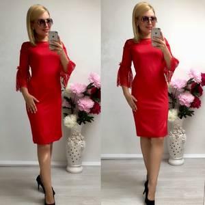 Платье короткое нарядное красное Т8037