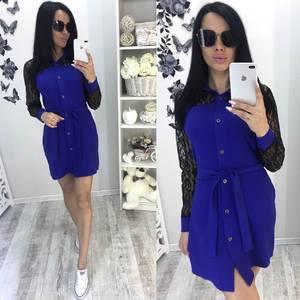 Платье короткое современное синее Т8048