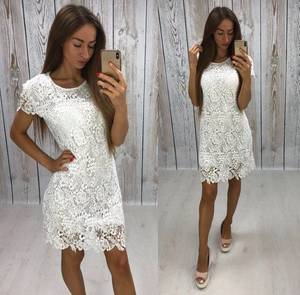Платье короткое нарядное белое Т8078