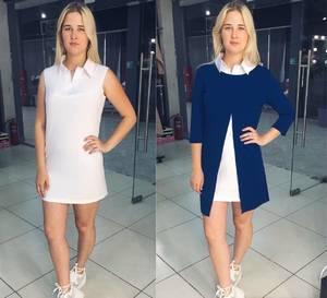 Платье Двойка короткое повседневное синее Т8056