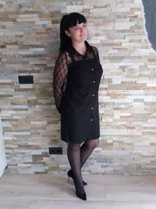 Платье короткое современное черное Т8049