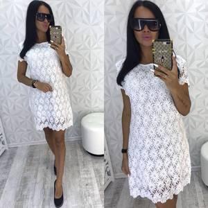 Платье короткое нарядное белое Т8077