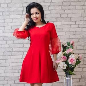 Платье короткое коктейльное красное Т5787