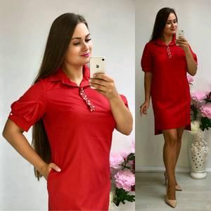Платье короткое нарядное красное Т8310