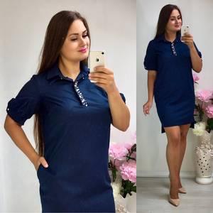 Платье короткое нарядное синее Т8311
