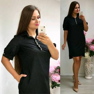 Платье короткое нарядное черное Т8313