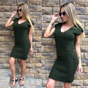 Платье короткое повседневное однотонное Т8139