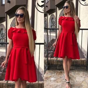 Платье короткое коктейльное красное Т5790