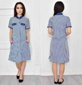 Платье короткое современное синее Т7729