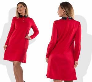 Платье короткое элегантное красное Т8301