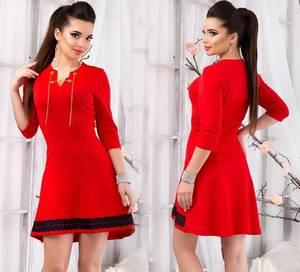Платье короткое нарядное красное Т8304