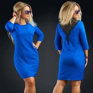 Платье короткое облегающее синее Т8307