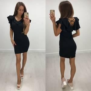 Платье короткое облегающее черное Т8203