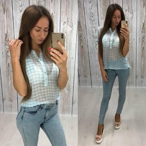 Блуза с коротким рукавом прозрачная Т6069