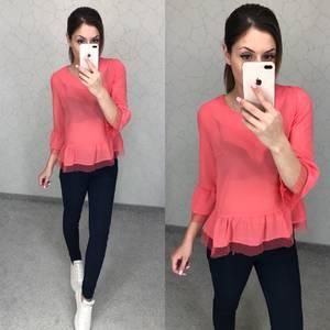 Блуза розовая прозрачная Т5796