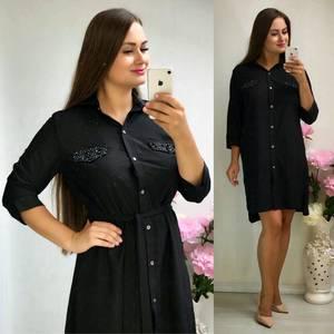 Платье короткое повседневное черное Т8319