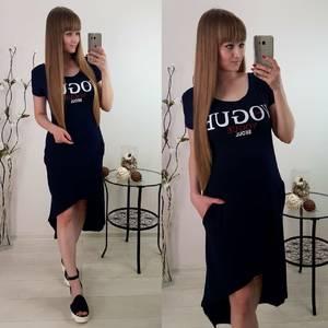 Платье короткое с принтом черное Т6080