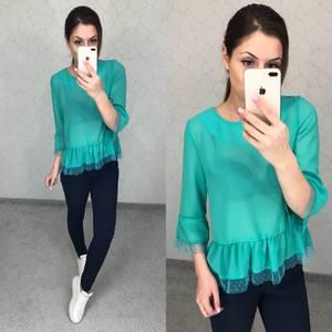 Блуза голубая прозрачная Т5797