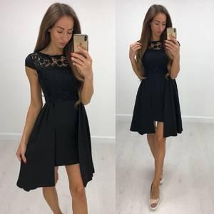 Платье короткое нарядное черное Т8208