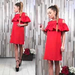 Платье короткое нарядное красное Т6091