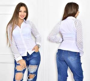 Рубашка белая однотонная Т5524