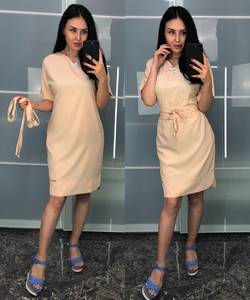 Платье короткое однотонное облегающее Т8227