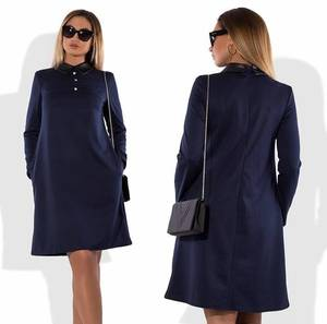 Платье короткое элегантное синее Т8302