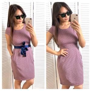 Платье короткое с принтом футляр Т4666