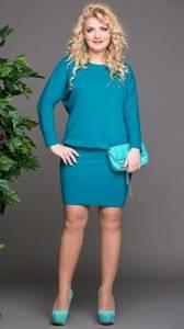 Платье короткое с длинным рукавом голубое Т8321