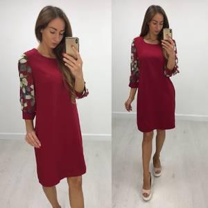 Платье короткое с рукавом 3/4 современное Т8235