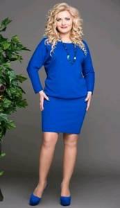 Платье короткое с длинным рукавом синее Т8324