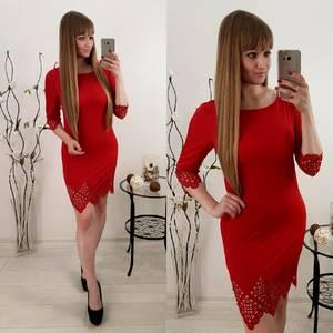 Платье короткое красное облегающее Т6540