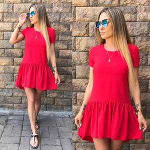 Платье короткое красное летнее Т6485