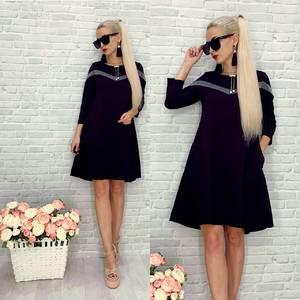 Платье короткое нарядное черное Т8294