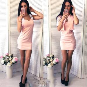 Платье Двойка короткое без рукавов современное Т6443