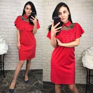 Платье короткое нарядное красное Т6537