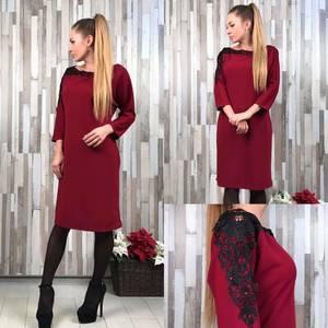 Платье короткое однотонное элегантное Т6550