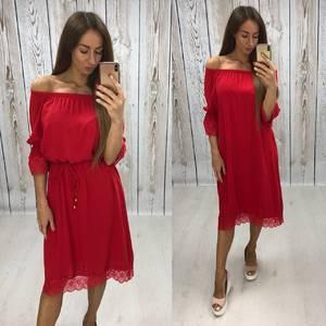 Платье короткое нарядное красное Т6460