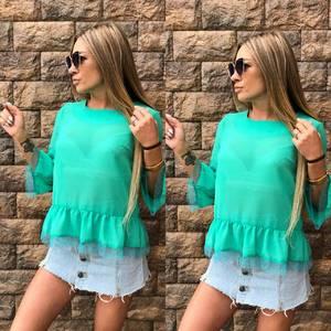 Блуза голубая прозрачная Т6829